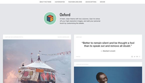 Oxford Premium Tumblr Theme